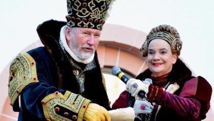 Das Kurfürstenpaar zum Silversterblasen auf Schloss Augustusburg