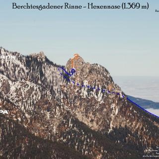 Hexennase - Topo, Übersichtsbild Berchtesgadener Rinne auf den großen Rotofenturm