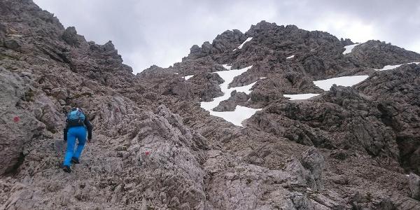 Gipfelaufbau Kreuzspitze - gut markiert