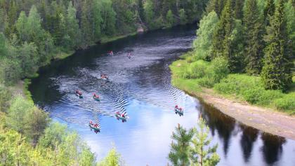 Canoeing in river Oulankajoki, Oulanka National Park in Kuusamo