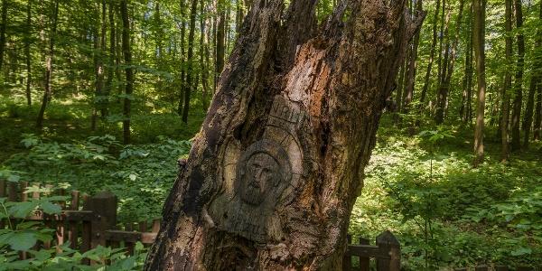 Faragott Krisztus-arc a körtvélyesi erdei temetőben