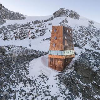 Die neu errichtete Schwarzensteinhütte in den Zillertaler Alpen.