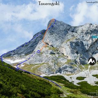 Übersichtsbild Klettertour Tauerngold auf den Tauernkogel - Topo