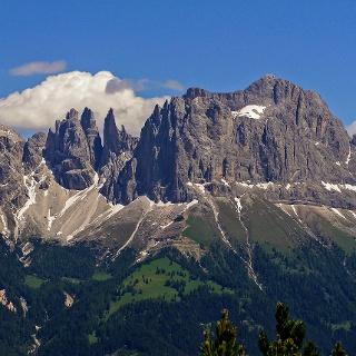 Rosengartenspitze (rechts) vom Tschafon (von Westen) gesehen
