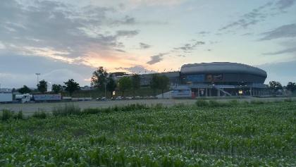 Start südwestlich des Stadiums, ca. 5:05 Uhr, bei fantastischem Wanderwetter