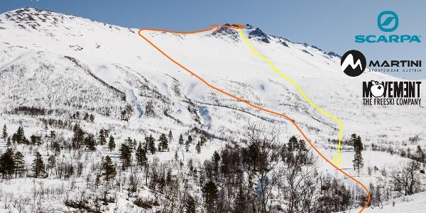 Übersichtsbild der Skitour auf den Skjervan in Norwegen