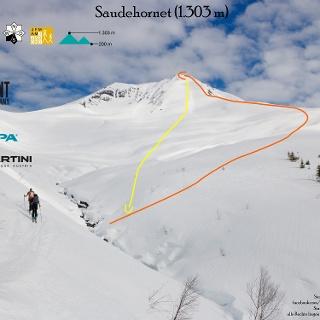 Saudehornet - Übersichtsbild der Skitour in den Sunmore Alps