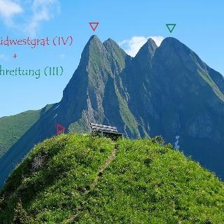 Höfats Südwestgrat (IV) und die Überschreitung vom West- auf den Ostgipfel (III) gesehen vom Kegelkopf