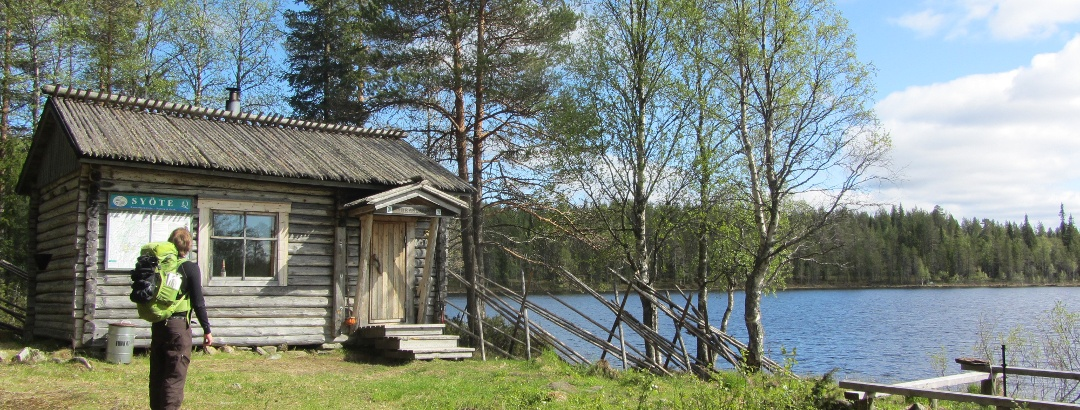 Hiking at Syöte National Park; you can rent huts in the forest.