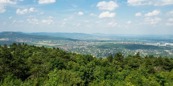 A Pilis és a Visegrádi-hegység, háttérben a Naszály (Guckler Károly-kilátó)