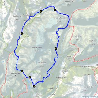 Kaart route rond Dome de l'Arpont