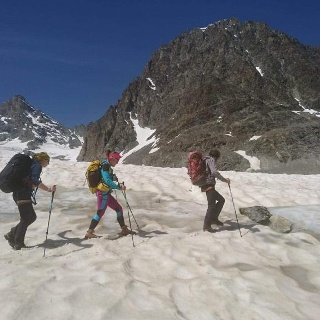 Approaching Col Collon (early season conditions)