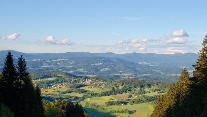 Fernsicht vom Pröller-Nordhang nach Kollnburg und ins Riedbachtal