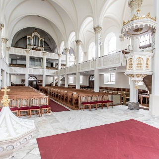 View of the main nave of protestant Peter & Paul Church Schladming