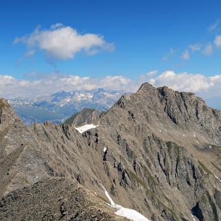 herrliche Bergkullise, von links nach rechts, Piz Signina, Piz Fess und das Oberhorn.