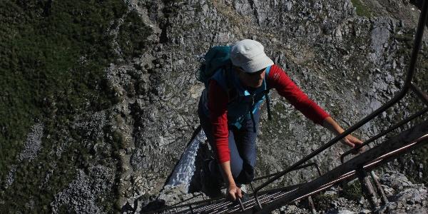 Die längste Leiter des Mittenwalder Höhenwegs