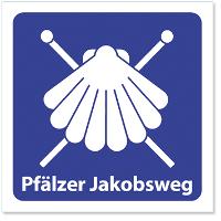 Logo und Markierungszeichen, silberne Muschel auf blauem Grund