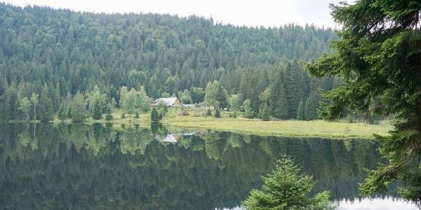 Kleiner Arbersee mit Seehütte am gegenüber liegenden Ufer