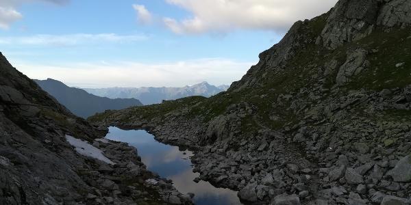 Ankogel-Hochalmgruppe: Nach Verlassen des Hannoverhauses, am Weg zur Mindener Hütte - der kleine Tauernsee