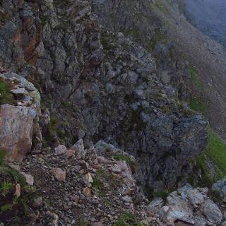 Schwierigste Passage der Etappe beim Medrigjoch (2.550 m)