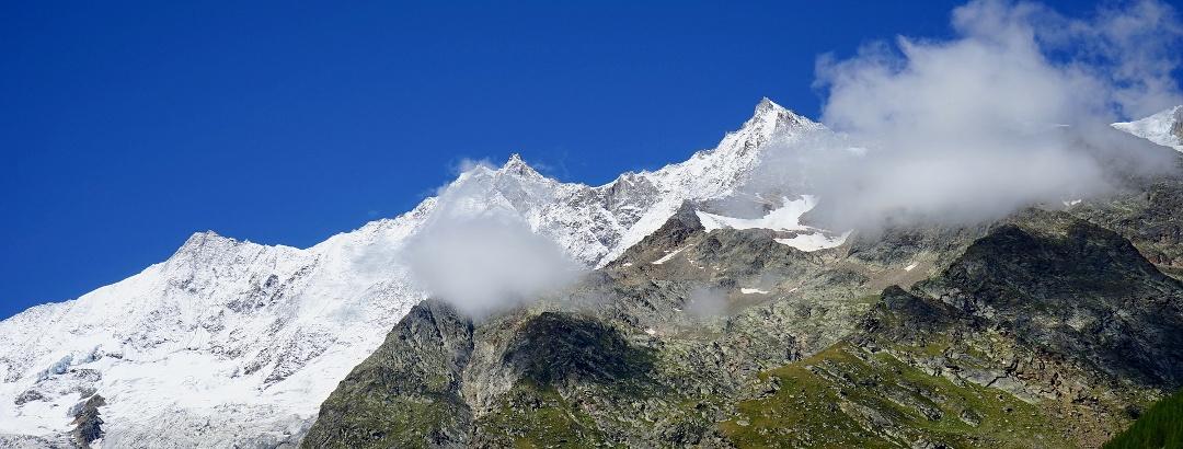 Blick auf die Alpen in Saas-Fee