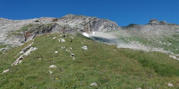 Naafkopf mit Vorfelsen vom Liechtensteiner Höhenweg aus.