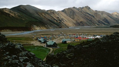 Campsite and mountain huts of Landmannalaugar