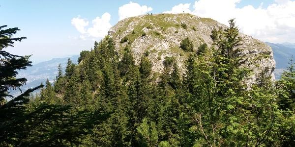 Gipfelkreuz und Metallständer auf der Gurtisspitze, 1778 m.