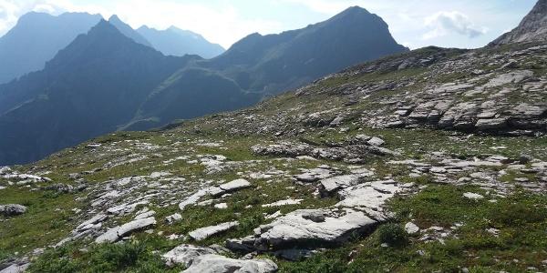 Hochjoch links vom Tschingel vom Plateau aus Richtung Pfälzerhütte.