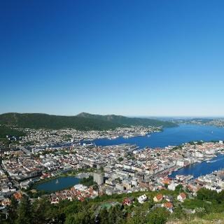 Aussicht vom Fløyen auf Bergen