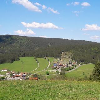 Blick nach dem Birkenberg nach Grün und Sommerrodelbahn