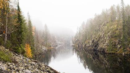 Autumn colours in lake Julma-Ölkky, Hossa National Park