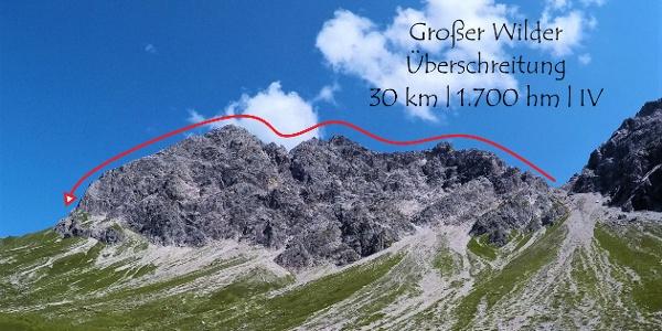 Überschreitung der drei Gipfel des Großen Wilden im Profil (rechts Wildenfeldscharte, links Himmelecksattel)