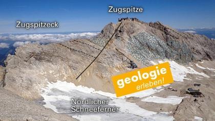 Blick vom Schneefernerkopf zur Zugspitze. Eine Störungszone (durchgezogene Linie) durchschneidet und versetzt die dickbankigen Kalksteine der Riffhangfazies (massige Bereiche des Riffkerns in Übersignatur).