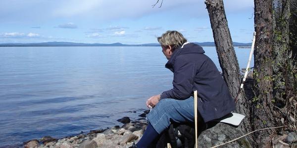 A rest along the Stråsjöleden pilgrim trail