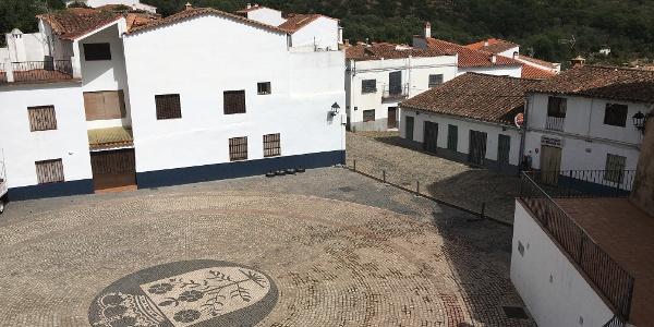 The old Plaza de Toros (Bull Ring) now the central square of Linares de la Sierra.