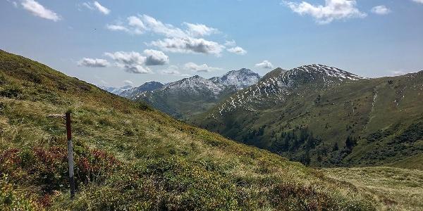 Stets die rot-weißen Markierungen und das Alpenpanorama im Blick.