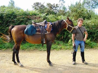Pilger zu Pferd beim Aeropuerto Santiago