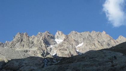 Blick auf Montage des Agneaux kurz unterhalb des Refuge du Glacier Blanc