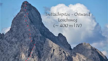 Ungefährer Routenverlauf vom Leuchsweg im oberen Wandteil der Trettach Ostwand (rot gepunktet).