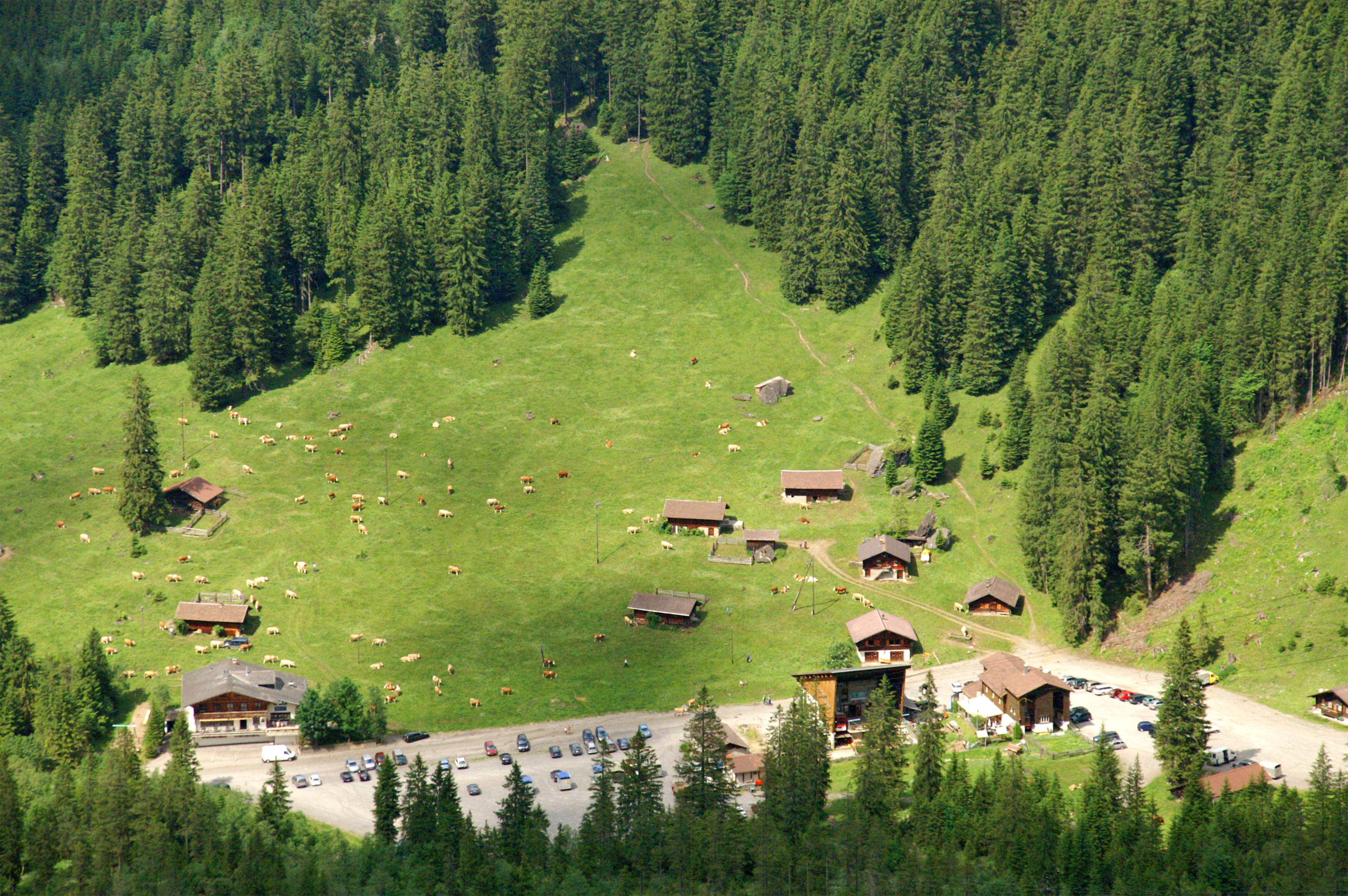 Tiefblick vom Klettersteig Chäligang zur Talstation Unter dem Birg.