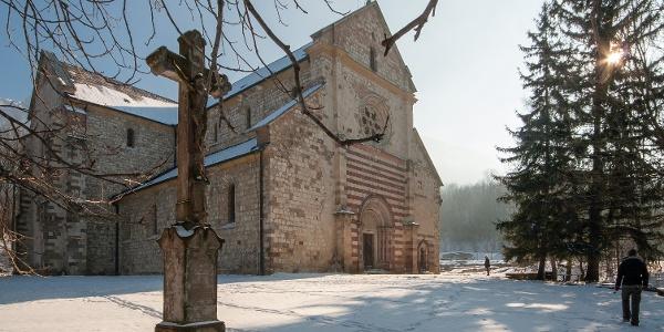 The abbey of Bélapátfalva in winter