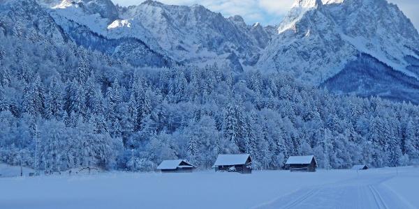 Loipen in Garmisch-Partenkirchen mit Blick auf das Zugspitzgebiet