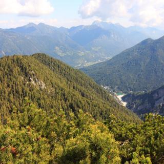 Blick auf Vitranc (der bewaldete Hügel) und rechts daneben den Jasna-See