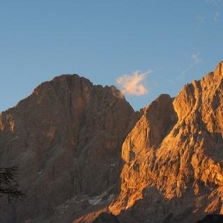 Dachstein beim Sonnenuntergang von der Austriahütte