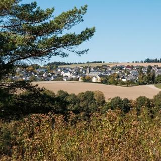 Blick auf Müllenbach, Start und Ziel der Wanderung