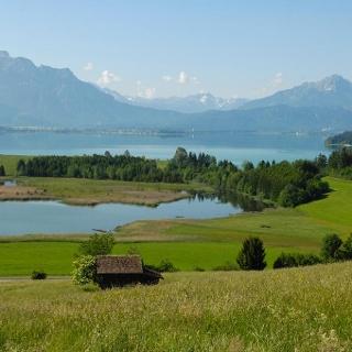 Panorama während der Tour: Der Forggensee bei Füssen
