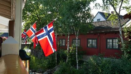 Norwegische Flagge in Lillehammer