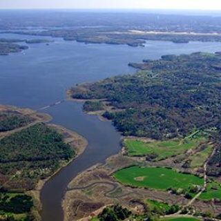 Aerial view of Great Bay National Estuarine Research Reserve, New Hampshire.