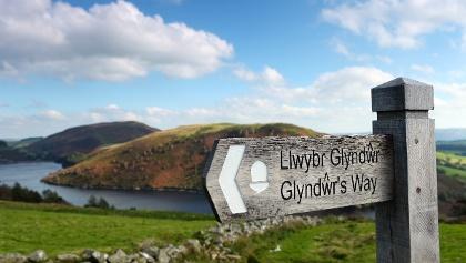 Wegweiser auf dem Glyndŵr's Way